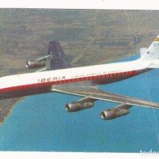 Postales: POSTAL PUBLICIDAD IBERIA AVION DOUGLAS DC-8 TURBOFAN 1963 14 X 9 CM (APROX). Lote 101455271