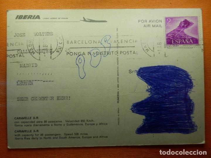 Postales: Postal - Aviones - CARAVELLE X-R- - IBERIA - 1968 - PUMERSA - ESCRITA - Foto 2 - 102363843