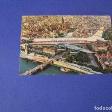 Postales: POSTAL DE AVIÓN DE IBERIA. JET DC-8 SOBREVOLANDO SEVILLA. ESCRITA.. Lote 103332651