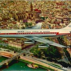 Postales: JET DC-8 SOBREVOLANDO SEVILLA - T.G.LLAUGER IBERIA - S/C. Lote 103855803