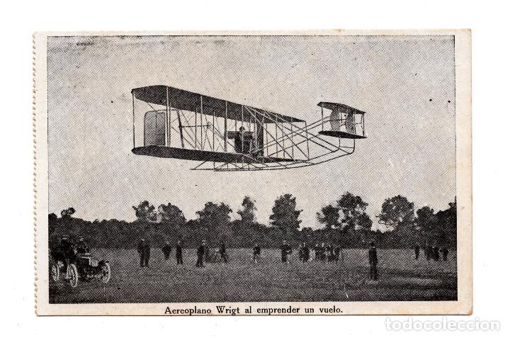 AEROPLANO WRIGT AL EMPRENDER UN VUELO . IMP. RAFOLS (Postales - Postales Temáticas - Aeroplanos, Zeppelines y Globos)