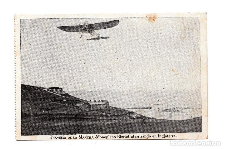 POSTAL DE AVIACION: TRAVESIA DE LA MANCHA, MONOPLANO BLERIOT ATERRIZANDO EN INGLATERRA (IMP.RAFOLS) (Postales - Postales Temáticas - Aeroplanos, Zeppelines y Globos)