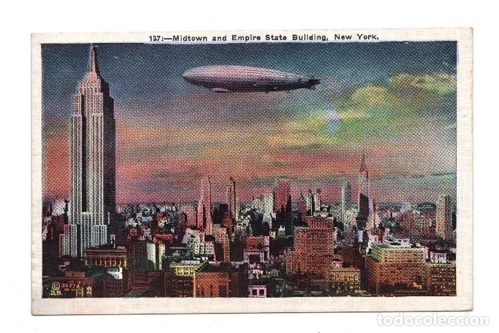 MIDTOWN AND EMPIRE STATE BUILDING - NEW YORK - ZEPPELIN (Postales - Postales Temáticas - Aeroplanos, Zeppelines y Globos)