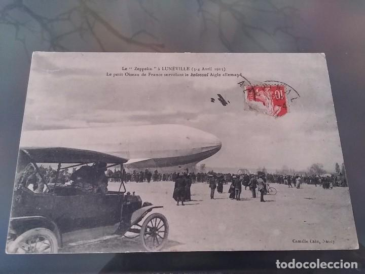 POSTAL DE AVIACION, ZEPPELIN, EL 3, 4 DE ABRIL DE 1913 EN LUNEVILLE, FRANCIA, CIRCULADA, ORIGINAL. E (Postales - Postales Temáticas - Aeroplanos, Zeppelines y Globos)