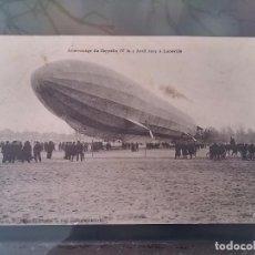 Postales: POSTAL DE AVIACION, ZEPPELIN, EL 3 DE ABRIL DE 1913 ATERRIZAJE DEL ZEPPELIN IV, LUNEVILLE, FRANCIA, . Lote 110024859
