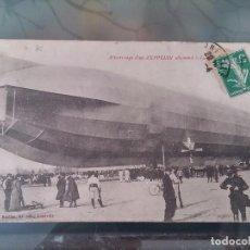 Postales: POSTAL DE AVIACION, ZEPPELIN, ATERRIZANDO UN DIRIGIBLE ALLEMAND, LUNEVILLE, FRANCIA, CIRCULADA, ORI. Lote 110025443