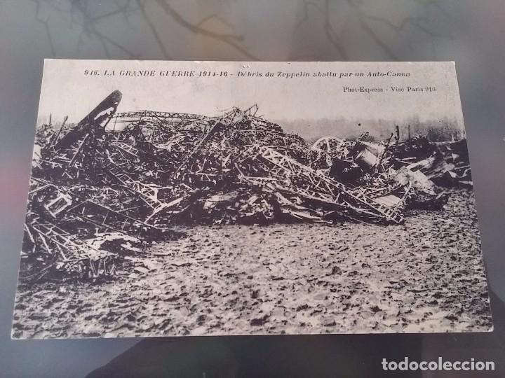POSTAL DE LA I GUERRA MUNDIAL, 1914-1915, ZEPPELIN ABATIDO POR UN AUTO CAÑON, PHOT EXPRESS, VISE PAR (Postales - Postales Temáticas - Aeroplanos, Zeppelines y Globos)
