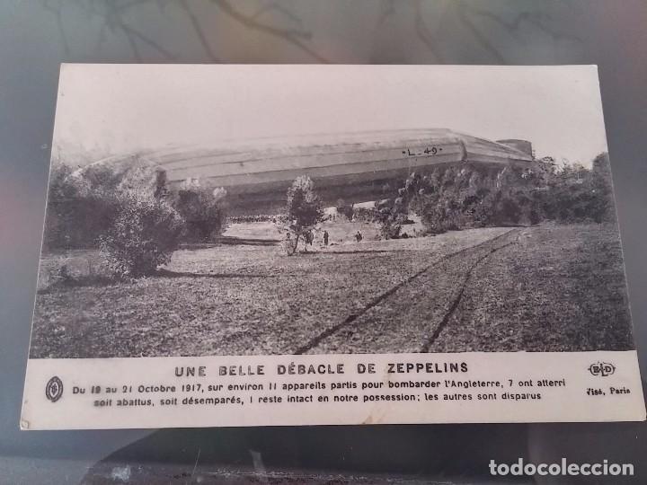 POSTAL DE ZEPPELIN ABATIDO EN CAMPAÑA, 21 DE OCTUBRE DE 1917, ED. E. LE DELEY, NO CIRCULADA. (Postales - Postales Temáticas - Aeroplanos, Zeppelines y Globos)