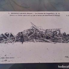 Postales: POSTAL DE LOS RESTOS DE UN ZEPPELIN L.Z. 77, ABATIDO EL 21 DE FEBRERO DE 1916, N. 1, BRABANT LE ROI,. Lote 110028231