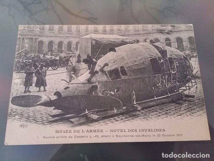 POSTAL DE LOS RESTOS DE UN ZEPPELIN L. 49, 20 DE OCTUBRE DE 1917, MUSEE DE L´ARMEE, E. LE DELEY IMP. (Postales - Postales Temáticas - Aeroplanos, Zeppelines y Globos)
