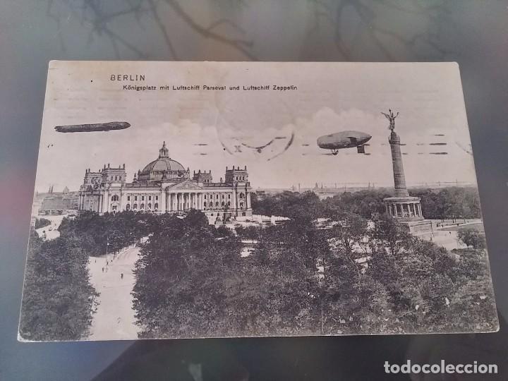 POSTAL DE DOS ZEPPELIN, DIRIGIBLES A SU PASO POR BERLIN, CIRCULADA EN 1910, DR. TRENKLER CO., ORIGI (Postales - Postales Temáticas - Aeroplanos, Zeppelines y Globos)
