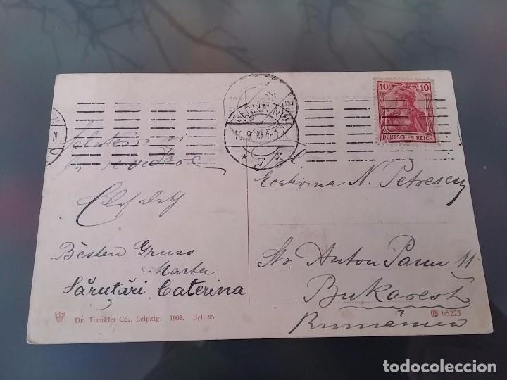 Postales: POSTAL DE DOS ZEPPELIN, DIRIGIBLES A SU PASO POR BERLIN, CIRCULADA EN 1910, DR. TRENKLER CO., ORIGI - Foto 2 - 110029443