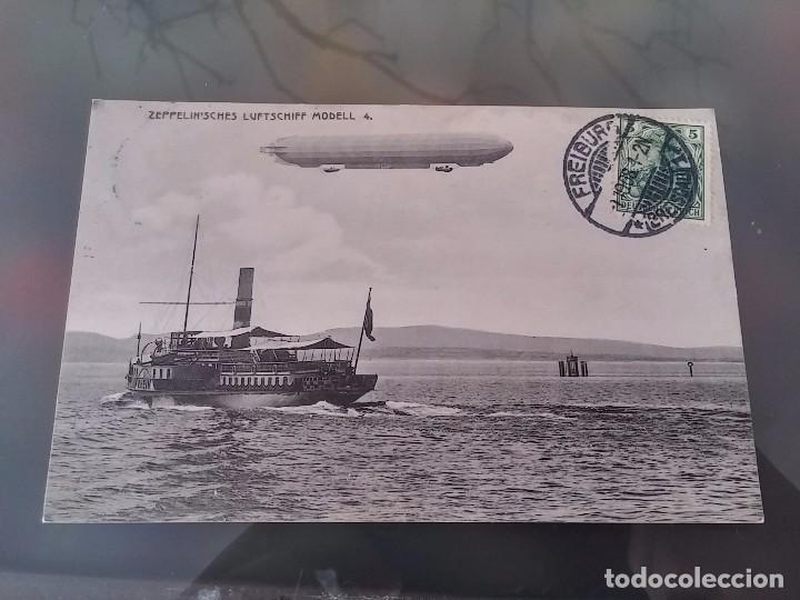 POSTAL DE AVIACION, ZEPPELIN MODELL 4, CIRCULADA EN FREIBURG, EN 1908, ED. EIGENTIUN METZ, ORIGINAL (Postales - Postales Temáticas - Aeroplanos, Zeppelines y Globos)