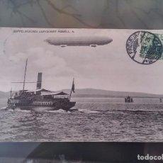 Postales: POSTAL DE AVIACION, ZEPPELIN MODELL 4, CIRCULADA EN FREIBURG, EN 1908, ED. EIGENTIUN METZ, ORIGINAL. Lote 110029583