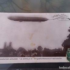 Postales: FOTO POSTAL DE AVIACION, DIRIGIBLE ALLEMAND ZEPPELIN II, N. 12, CIRCULADA, ED. MARQUE ROSE, ORIGINA. Lote 110029775