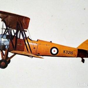 Postal Avioneta K3215 AVRO TUTOR 1931 10,3 x 14,9 ESCRITA - SIN SELLO