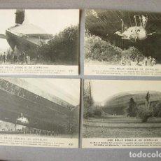 Postales: 4 POSTALES. UNE BELLE DEBACLE DE ZEPPELINS. DERRIBO DE UN DIRIGIBLE EN 1917. Lote 120883875