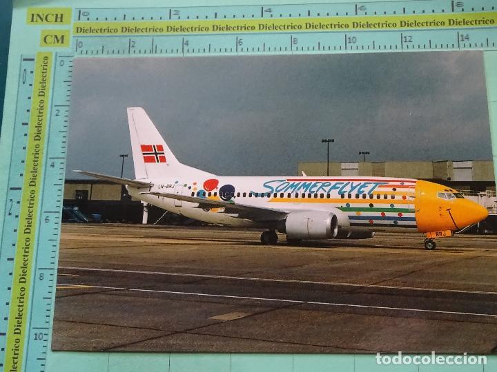 POSTAL DE AVIONES AEROLÍNEAS. AVIÓN BOEING 737 BRAATHENS SAFE EN GATWICK. NORUEGA. 1749 (Postales - Postales Temáticas - Aeroplanos, Zeppelines y Globos)