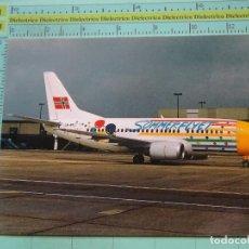 Postales: POSTAL DE AVIONES AEROLÍNEAS. AVIÓN BOEING 737 BRAATHENS SAFE EN GATWICK. NORUEGA. 1749. Lote 194125335