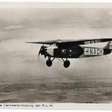 Postales: AVIÓN. KLM. FOKKER F- VLLA VERKEERSVLIEGTUIG. H- NADK. DIENST, ROTTERDAM.. Lote 127194659