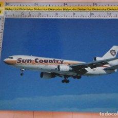 Postales: POSTAL DE AVIONES AEROLÍNEAS. AVIÓN DC 10 15 DE SUN COUNTRY, ESTADOS UNIDOS. 22. Lote 127592319