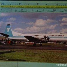 Postales: POSTAL DE AVIONES AEROLÍNEAS. AVIÓN LOCKHEED L188 DE TRANSAMERICA AIRLINES. 837. Lote 129395339