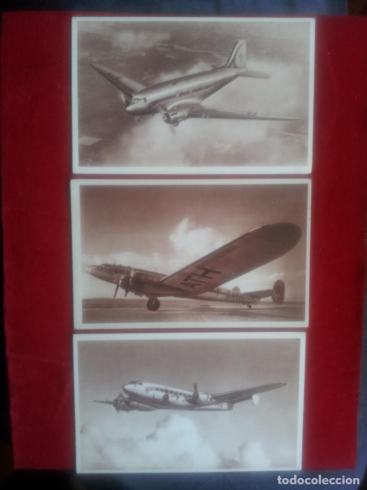 B-110.- LOTE DE 3 POSTALES DE LA COLECCION AIR FRANCE , DOUGLAS DC3 Y LAGUEDOC 161, Nº 1-3-6- (Postales - Postales Temáticas - Aeroplanos, Zeppelines y Globos)