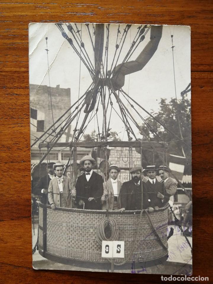 GLOBO ESTATICO - BARCELONA - PRIMERA DECADA DEL SIGLO XX - SIN CIRCULAR - L. DONOSO , FOTÓGRAFO (Postales - Postales Temáticas - Aeroplanos, Zeppelines y Globos)