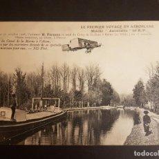 Postales: POSTAL AVIACION EL PRIMER VIAJE EN AEROPLANO AVIADOR FARMAN 1908. Lote 140592762