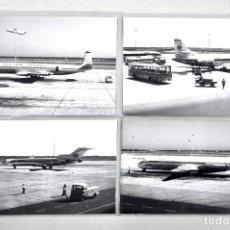 Postales: ARCHIVO CUYÁS 4 FOTOGRAFÍAS DE AVIONES EN EL AEROPUERTO DE BARCELONA. IBERIA Y DAN AIR LONDON. Lote 141858174