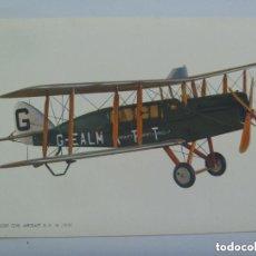Postales: POSTAL CON DIBUJO DE UN AVION BIPLANO : PASSENGER CIVIL AIRCRAFT D. H. 16 ( 1919 ).. Lote 143780326