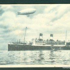 Postales: BARCO ITALIANO JULIO CESAR SALUDADO POR UN DIRIGIBLE Y UN AEROPLANO ESPAÑOL BARCELONA 1922. Lote 144143930