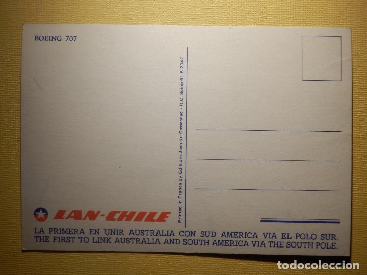 Postales: Postal - Avion Boing 707 - Lan Chile - La primera en unir Australia con Sud America via el polo sur - Foto 2 - 151466266