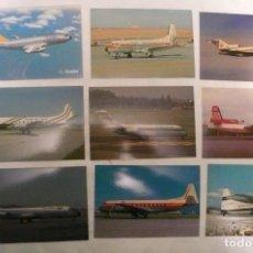 Postales: 9 POSTALES DE AVIONES SIN USAR LOTE 3. Lote 155208366