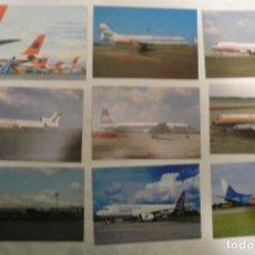Postales: 9 POSTALES DE AVIONES SIN USAR LOTE 7. Lote 155208798