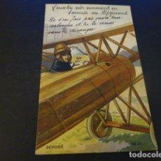 Postales: AVION CON TIRA DESPLEGABLE AVIACION POSTAL. Lote 155628606