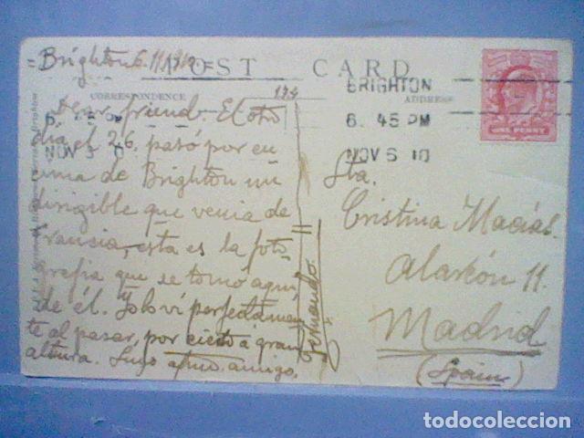 Postales: Zeppelin sobre Brighton fotografia postal 1910 circulada sello 1 penique - Foto 7 - 36860212