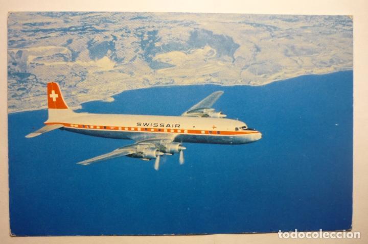 POSTAL AVION SWISSAIR - DC 7 C - SEVEN SEAS (Postales - Postales Temáticas - Aeroplanos, Zeppelines y Globos)