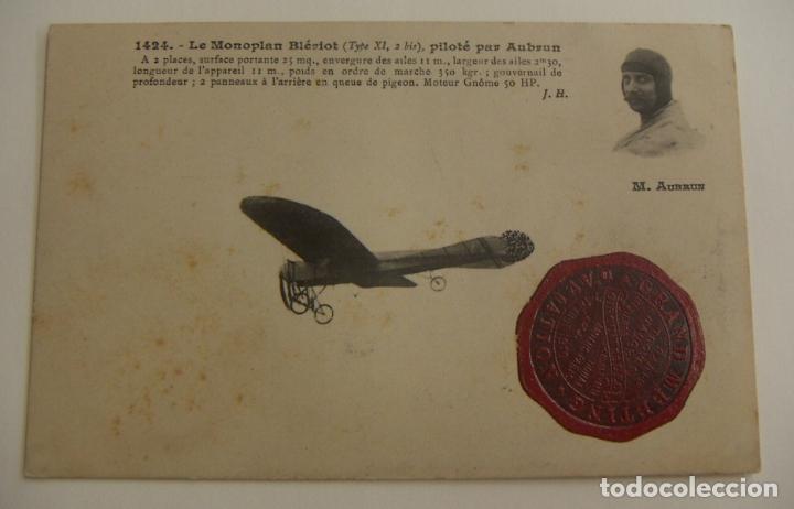 POSTAL PIONEROS DE LA AVIACION AUBRUN CON EL SELLO DE GRAN ENCUENTRO DE AVIACION 1910 ORIGINAL (Postales - Postales Temáticas - Aeroplanos, Zeppelines y Globos)