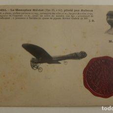 Postales: POSTAL PIONEROS DE LA AVIACION AUBRUN CON EL SELLO DE GRAN ENCUENTRO DE AVIACION 1910 ORIGINAL. Lote 166357258