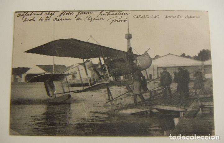 POSTAL PIONEROS DE LA AVIACION LLEGADA DE UN HIDROAVION AL LAGO CAZAUX ORIGINAL (Postales - Postales Temáticas - Aeroplanos, Zeppelines y Globos)