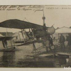 Postales: POSTAL PIONEROS DE LA AVIACION LLEGADA DE UN HIDROAVION AL LAGO CAZAUX ORIGINAL. Lote 166357498