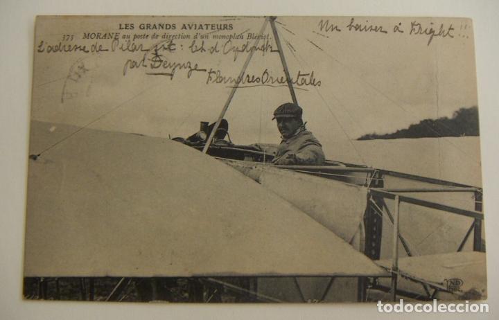 POSTAL PIONEROS DE LA AVIACION MORANE CON UN MONOPLANO BLERIOT ORIGINAL (Postales - Postales Temáticas - Aeroplanos, Zeppelines y Globos)