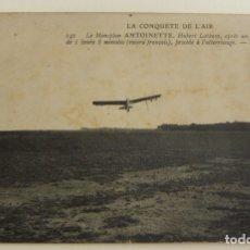 Postales: POSTAL PIONEROS DE LA AVIACION HUBERT LATHAM CON EL MONOPLANO ANTOINETTE RECORD FRANCES ORIGINAL. Lote 166358838