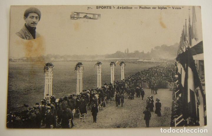 POSTAL PIONEROS DE LA AVIACION PAULHAN CON EL BIPLANO VOISIN ORIGINAL (Postales - Postales Temáticas - Aeroplanos, Zeppelines y Globos)