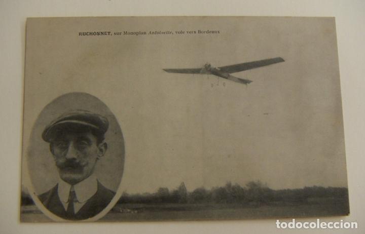 ASES DE LA AVIACIÓN RUCHONNET CON EL MONOPLANO ANTOINETTE CERCA DE BURDEOS ORIGINAL (Postales - Postales Temáticas - Aeroplanos, Zeppelines y Globos)