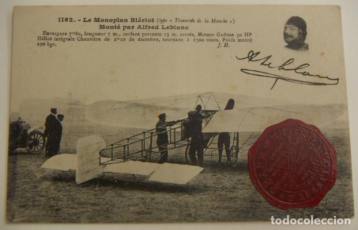 PIONEROS ALFRED LEBLANC CON MONOPLANO BLERIOT CON SELLO GRAN ENCUENTRO DE AVIACION 1910 ORIGINAL (Postales - Postales Temáticas - Aeroplanos, Zeppelines y Globos)