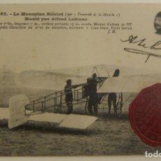Postales: PIONEROS ALFRED LEBLANC CON MONOPLANO BLERIOT CON SELLO GRAN ENCUENTRO DE AVIACION 1910 ORIGINAL. Lote 166362250