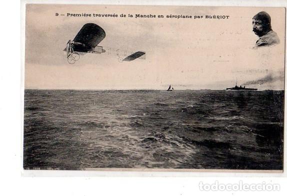 TARJETA POSTAL DE PREMIERE TRAVERSEE DE LA MANCHE EN AEROPLANE PAR BLERIOT. (Postales - Postales Temáticas - Aeroplanos, Zeppelines y Globos)