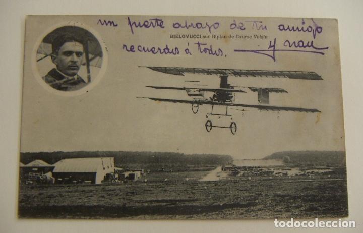 PIONEROS DE LA AVIACION BIELOVUCCI CON BIPLANO EN VUELO ORIGINAL (Postales - Postales Temáticas - Aeroplanos, Zeppelines y Globos)